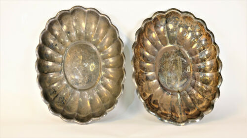 Reed & Barton Oval Scalloped Silver Plated Platters #110 Set of 2