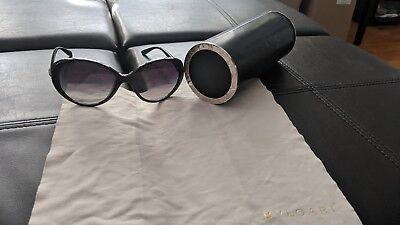 Women's Authentic BVLGARI Sunglasses Round Frames Black with Case and Cloth Used