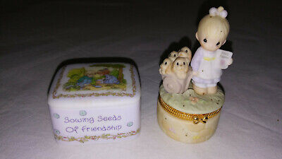 Precious Moments GOD LOVETH A CHEERFUL GIVER Trinket Box Sowing Seeds of Friends