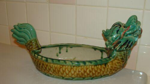 "Beautiful Vintage Chinese Ceramic Dragon Bowl/Planter/Candy Dish 13.6"""