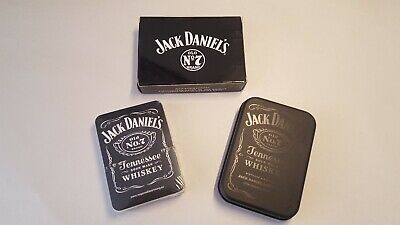 Jack Daniels Whisky Playing Cards With Black Tin Box Brand New