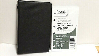 Mead Memo Book 6 Ring Binder Black With Extra Refill 5 X 3