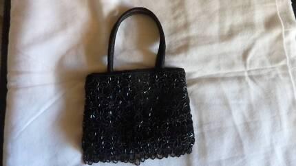Handbag Black Beaded small