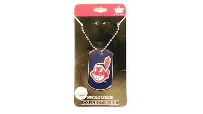 Cleveland Indians Logo Charm - CLEVELAND INDIANS CHIEF WAHOO LOGO DOG TAG NECKLACE ENAMEL DOME CHARM CHAIN MLB
