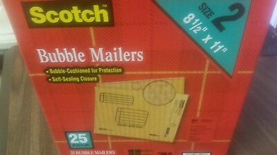 25 Bubble Mailers 8.5 X 11 Interior Self Sealing Closure Scotch 25 Mailers