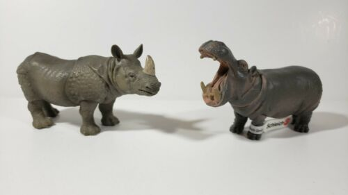 Schleich Indian Rhinoceros Rhino 14183 and Hippopotamus 14132 with tag