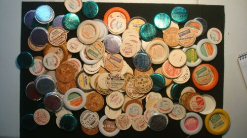 HUGE Lot 100+ Vintage Antique Milk - Juice Bottle Tops - Many States - Dairy