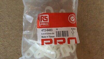 1000 x WHITE PLASTIC NYLON P CLIPS  RS 472- 6403 - 40 sealed bags