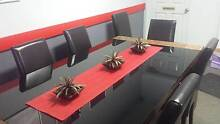 Excellent Modern Timber Dining Table and 6 Brown Leather Chairs East Brisbane Brisbane South East Preview