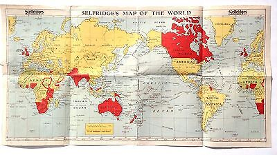 Vintage 1950's Selfridge's PAPER Map Of the World