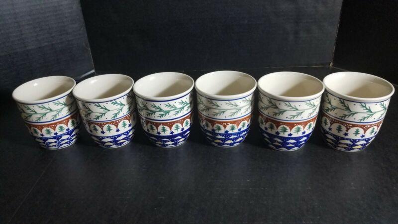 Polish Pottery BoleslawiecSet of 6 Mugs Coffee or Tea Unique