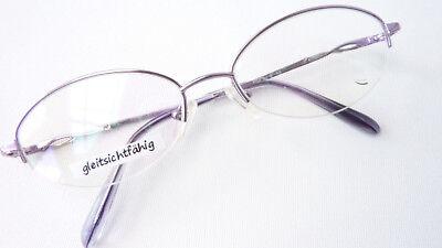 Brille teilrandlos leicht Metall Gestell Damenfassung zart lila günstig Grösse M