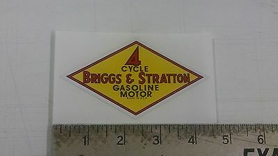 Vintage Briggs Stratton Gasoline Oil Yellow Sticker Decal 4.4x2.4