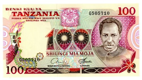 "Tanzania ... P-8a ... 100 Shillings ... ND(1966) ... Choice *UNC*  Sign :""4"""