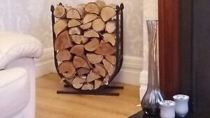 U shaped Log Holder Painted in Fire Resistant Black Paint