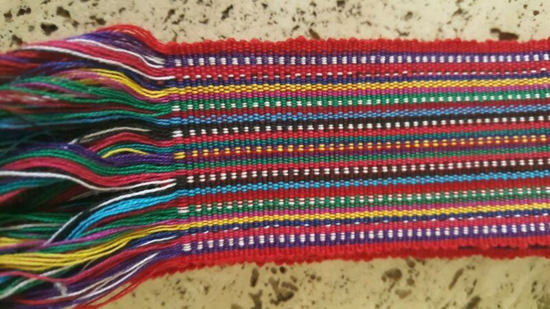 "Vintage, Colorful Hand-woven Guatemalan faja/sash,   Approx.  2"" wide, 62"" long"