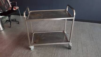 STAINLESS STEEL CATERERS TROLLEY - service cart 2 shelf event