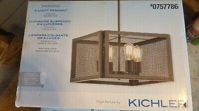 "4 Light Pendant Bronze Finish Cage 16"" Industrial Kichler Saybridge Collection"