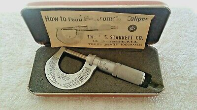 Vintage L.s. Starrett Co. Micrometer 0-1 No. 230-f Friction Thimble Hard Case