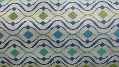 5 YDS COVINGTON OASIS CARIBBEAN BLUE GREEN DIAMOND WAVE WOVEN UPHOLSTERY FABRIC
