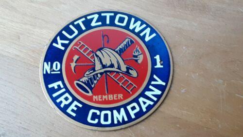 """Vtg KUTZTOWN FIRE CO. No. 1 Metal Plaque/Sign 4 1/4"""" across KUTZTOWN,PA - Berks"""