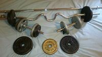 90 lbs Plate weights and bars