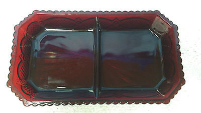 Avon Cape Cod Ruby Red Divided Relish Dish Relish Tray
