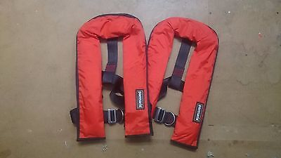 2 x Automatic Parmaris Lifejackets with Harness 150N (Red) Auto Life Jacket