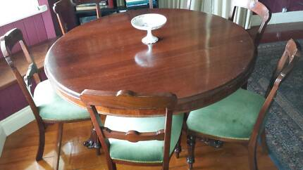 Victorian era  dining room round table and 6 chairs Northgate Brisbane North East Preview