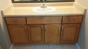 Bathroom counter vanity with sink and faucet