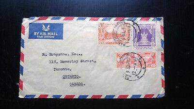 VERY RARE 1956 UNION OF BURMA COVER TO TORONTO CANADA UNIQUE DESTINATION