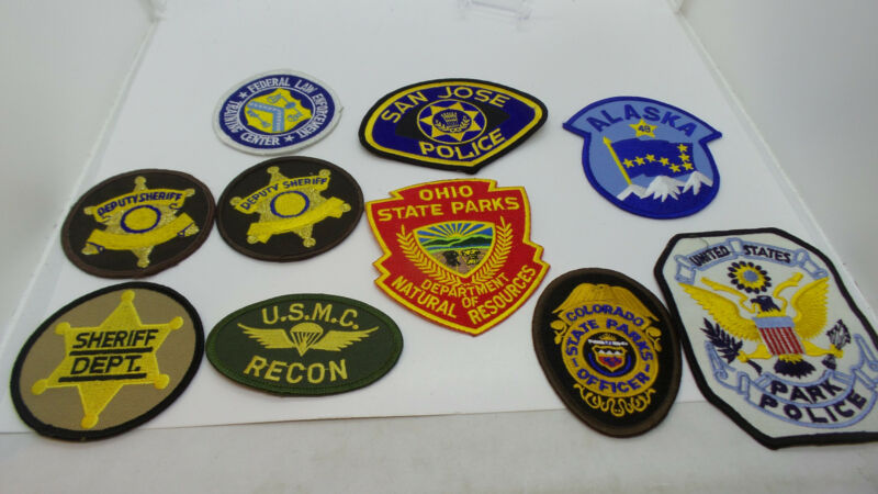 Lot of 10 Different Patches - Police / State Parks / Military