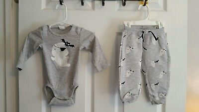 H&M Infant 2 Piece Halloween Ghost/Bat Outfit size 4-6 - H&m Halloween Baby
