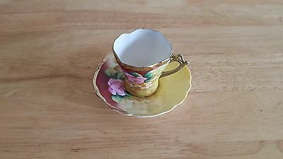 Vintage Newport Belle Germany Hand Painted Tea Cup & Saucer w/ Gold Trim CUTE