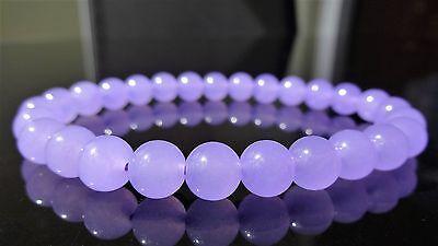 "Genuine Lavender Jade Bead Bracelet for Men (On Stretch) 8mm AAA - 8"" inch"
