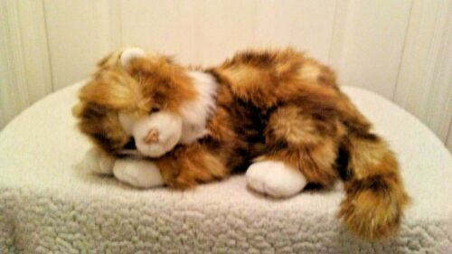 "Ty 14"" Long Haired Multicolor Fur Cat with Cream Belly 2004 Plush"