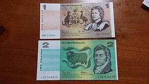 $1 & $2 New Paper Banknote Set - $20 pair Bridgeman Downs Brisbane North East Preview