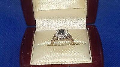 Vintage 9ct yellow gold, Blue/Black Sapphire & Diamond Cluster Ring