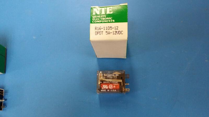 (1 PC) R16-11D5-12 NTE RELAY GENERAL PURPOSE DPDT 12VDC 5A PLUG-IN