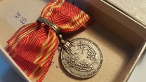 Japan OCCUPIED MANCHUKUO Red Cross SILVER Women Bow Type Medal SCARCE 1938 GOOD