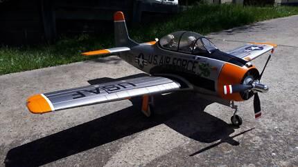 RC Plane, FMS 1400 T-28, Never Crashed, Cowl Flaps, Silver, Pnp