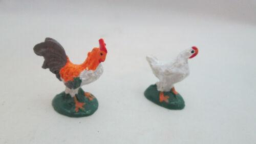 Dollhouse Miniature / Fairy Garden Resin Chickens - Rooster & Hen #2