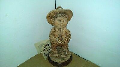 Boy Smoking Pipe Statue Giuseppe Armani Figurine Gulliver's World Signed 1980