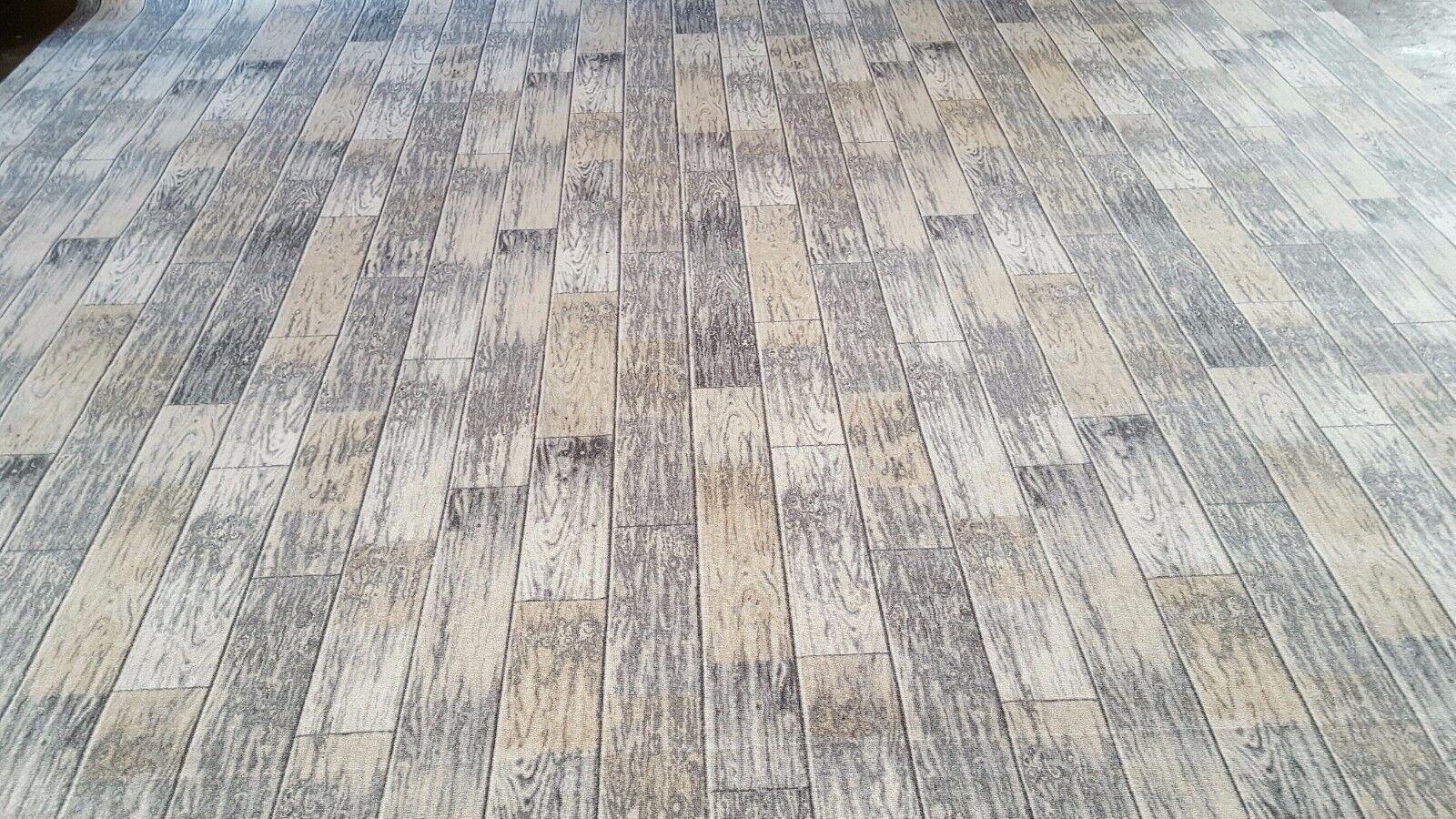 Teppichboden 9,99€/m² Design Holz Planken Silber grau Auslegware 200 cm