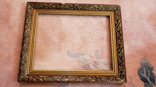 "Vintage Art Nouveau Gold Gesso Wood Frame 14"" x 10 7/8"" In. Painting."