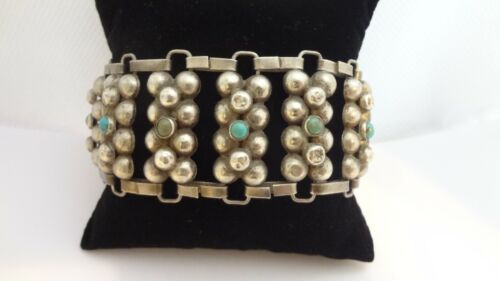 Vintage Mexico Sterling Silver Balls Turquoise Cabochon Panel Bracelet