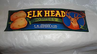 1930's Elk Head 1000 Original Vegetable Labels Mint Condition