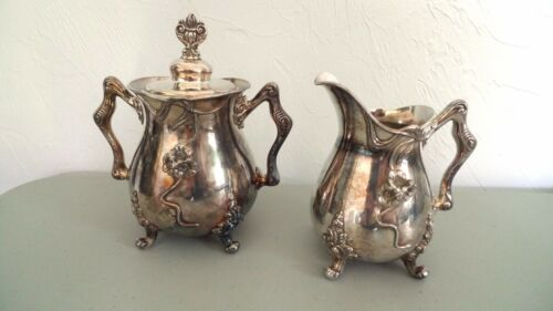 Antique Rockford Silver Plate Co. Sugar Creamer Set Ornate