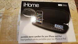 iHome iP38 Portable Stereo Alarm Clock Speaker - 30-Pin Dock Connector for iPod