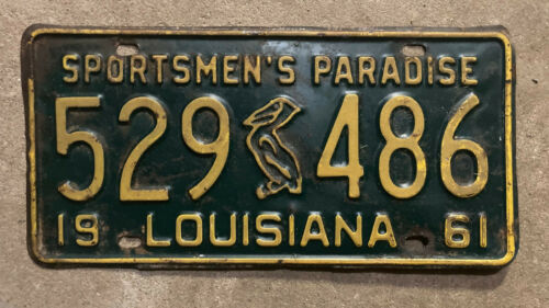 1961 Louisiana license plate 529486 pelican